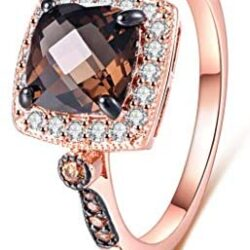 Barzel 18K Rose Gold Plated Created Smoke Topaz & Morganite Ring