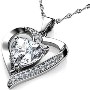 DEPHINI – White Heart Necklace – 925 Sterling Silver A+ Cubic Zirconia Crystal Pendant Birthstone – Fine Jewellery Love – 18″ Premium Rhodium Plated Silver Chain – Gifts for Women