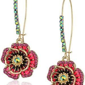 Betsey Johnson Multi Flower Shepherd's Hook Earrings
