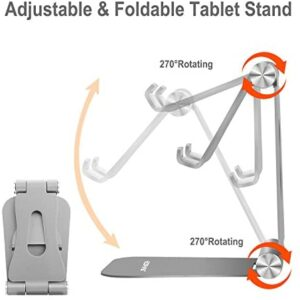 [Updated Adjustable & Foldable] Desktop Cell Phone Stands Cell Phone Holder Tablet Stand, Advanced Universal Aluminum Stand Holder for Mobile Phone and Tablet (Up to 13 inch) – Space Grey