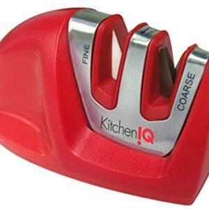 Kitchen IQ 50883 Edge Grip 2-Stage Knife Sharpener, Red