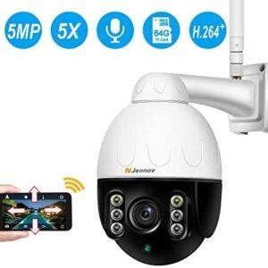 Jennov Wireless WiFi Security Camera IP PTZ Camera Outdoor Waterproof HD 2560×1920 Home CCTV Surveillance Pan/Tilt 5X Optical Zoom Two-Way Audio Motion Detection Siren Alarm with 64G Mirco SD Card