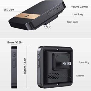 Doorbell Chime Receiver, Doorbell Receiver for Wi-Fi Video Doorbell, US Plug, Operating at Over 500-feet Range, 52 Ringtones, 4 Adjustable Volume Levels, Alert LED Flash