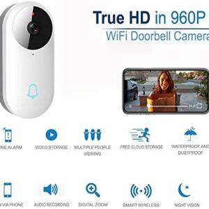 Dophigo Outdoor HD960P Wireless WiFi Doorbell Camera Smartphone CCTV Security Surveillance 2 Way Audio Night Vision No Monthly Fee Cloud Storage Service Works Alexa Google
