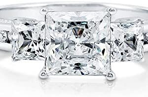 BERRICLE Rhodium Plated Sterling Silver Princess Cut Cubic Zirconia CZ 3-Stone Anniversary Promise Engagement Ring 2.64 CTW