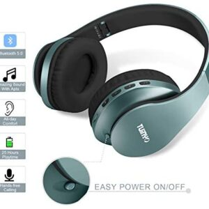 Bluetooth Headphones,Tuinyo Wireless Headphones Over Ear with Microphone, Foldable & Lightweight Stereo Wireless Headset for Travel Work TV PC Cellphone – Silver Blue