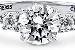 BERRICLE Rhodium Plated Sterling Silver Round Cubic Zirconia CZ 3-Stone Anniversary Promise Engagement Ring 1.59 CTW