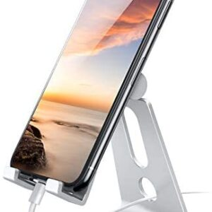 Adjustable Cell Phone Stand, Lamicall Phone Stand: [Update Version] Cradle, Dock, Holder Compatible with iPhone Xs XR 8 X 7 6 6S Plus SE 5 5S Charging, Accessories Desk, Android Smartphone – Silver
