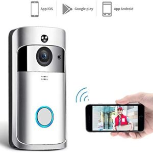 Alician Wireless WiFi DoorBell Smart Video Phone Door Visual Ring Intercom Secure Camera Silver