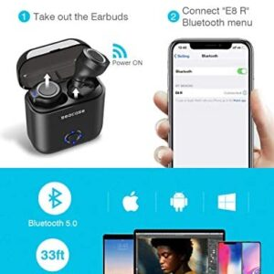 Bluetooth Headphones,Seacase 5.0 True Wireless Earbuds Deep Bass Stereo Sound Bluetooth Earphones Mini in-Ear Binaural Call Headsets with Built-in Mic and Charging Case for iPhone and Android Phones