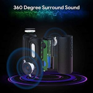 Bluetooth Speaker, Zamkol Waterproof Bluetooth Speakers Portable Wireless, 24W Enhanced X-Bass & 360 Degree Sound, 15 Hours Play Time, TWS, IPX6 Portable Speaker for Home, Travel, Party (Black)