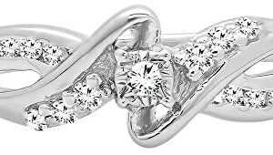 Dazzlingrock Collection 0.15 Carat (ctw) Round White Diamond Swirl Bypass Split Shank Ladies Promise Ring, Sterling Silver