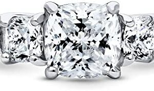 BERRICLE Rhodium Plated Sterling Silver Cushion Cut Cubic Zirconia CZ 3-Stone Anniversary Promise Engagement Ring 2.34 CTW