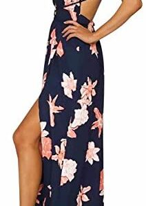 BerryGo Women's Sexy Deep V Neck Backless Floral Print Split Maxi Party Dress