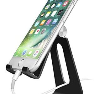Adjustable Cell Phone Stand, CreaDream Phone Stand, Cradle, Dock, Holder, Aluminum Desktop Stand Compatible with iPhone Xs Max Xr 8 7 6 6s Plus 5s Charging, Accessories Desk,All Smart Phone-Black