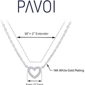 PAVOI 14K Gold Plated Cubic Zirconia Heart Necklace | Layered Necklaces | Gold Necklaces for Women | 18″ Length with a 2″ Extension