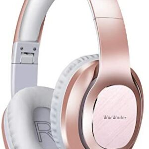 Bluetooth Headphones Over Ear, WorWoder [50 Hrs Playtime] Wireless Headphones, Quick Charge, Hi-Fi Sound Deep Bass/Soft Earpads, Built-in HD Microphone for Cellphone PC TV (Rose Gold)