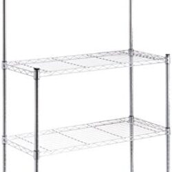 AmazonBasics Kitchen Storage Baker's Rack with Table, Wood/Chrome – 63.4″ Height