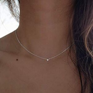 Silver Dainty Diamond Choker Necklace – Diamond Choker Necklace – 925 Sterling Silver Choker necklace – Handmade Minimalist jewelry – Tiny Diamond
