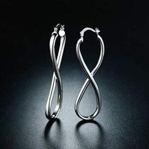 Barzel 18k Gold Plated Infinity Crazy 8 Hoop Earrings
