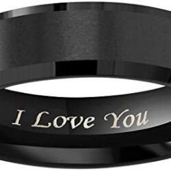 """Crownal 4mm 6mm 8mm Black/Silver/Gunmetal/Gold Tungsten Wedding Couple Bands Rings Men Women Matte Brushed Finish Center Engraved""""I Love You"""" Size 4 To 17"""