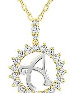 Sterling Silver Letter Pendent Necklace Double Plated 14k Gold and White Gold Necklace for Women