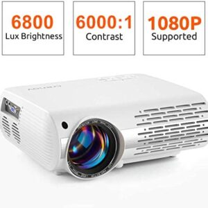 "crenova Video Projector, 6800 Lux Home Movie Projector(550 ANSI), 200"" Display HD LED Projector 1080P Supported, Work with iPhone, Android, PC, Mac, TV Stick, HDMI, USB for Home Theater Projector"
