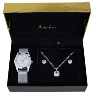 Gifts For Women Mom Wife Girlfriend Birthday Anniversary Graduation – Appolus Watch Necklace Earrings Gift Set With Cubic Zirconia Stones (Silver)