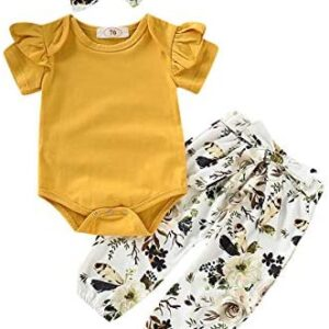 3PCS Infant Toddler Baby Girl Clothes Ruffle Romper Bodysuit Floral Halen Pants Headband Outfits