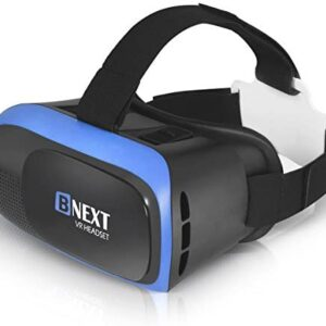 VR Headset Compatible with iPhone & Android Phone – Universal Virtual Reality Goggles – Play Your Best Mobile Games 360 Movies with Soft & Comfortable New 3D VR Glasses | Blue | w/Eye Protection