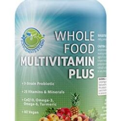 Whole Food Multivitamin Plus – Vegan – Daily Multivitamin for Men and Women with Organic Fruits and Vegetables, B-Complex, Probiotics, Enzymes, CoQ10, Omegas, Turmeric, All Natural, 90 Capsules