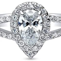 BERRICLE Rhodium Plated Sterling Silver Halo Promise Engagement Split Shank Ring Made with Swarovski Zirconia Pear Cut 1.15 CTW