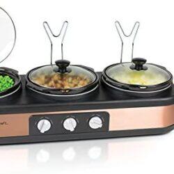 HomeCraft TSC25 3-Station 2.5-Quart Round Slow Cooker Buffet – Copper