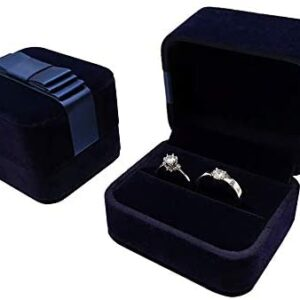 Bearda Velvet Double Ring Box – Navy Couple Bearer Ring Organizer Jewelry Earring Pins Gift Favor Case with Elegant Silk Box for Wedding, Engagement, Christmas (Ring Box)
