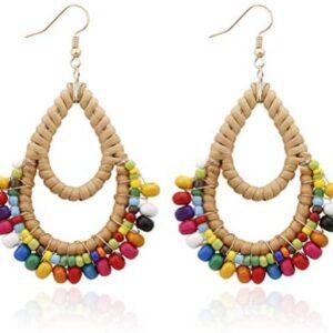 Bohemian Rattan Wooden Beads Fish Hook Teardrop Earrings Dangle Drop Jewelry for Women Girls