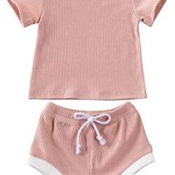 2 PCS Infant Toddler Baby Boy Girl Summer Outfits Top Shirt+Drawstring Shorts Clothes Set