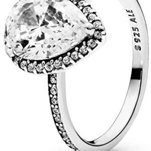 Pandora Jewelry Sparkling Teardrop Halo Cubic Zirconia Ring in Sterling Silver, Size 7.5