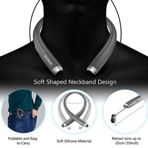 Bluetooth Headphones, AMORNO Foldable Wireless Neckband Headset with Retractable Earbuds, Sports Sweatproof Noise Cancelling Stereo Earphones with Mic (Grey)