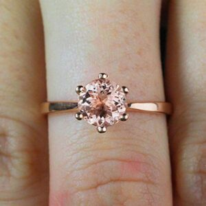 Beautiful Morganite Diamond Ring Sale 1.50 Carat Morganite Solitaire Engagement Ring 10k Rose Gold