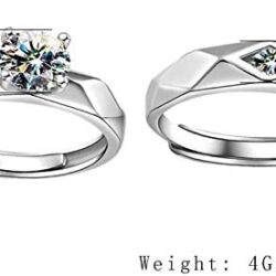 Aeici 925 Sterling Silver Couple Rings Cubic Zirconia Wedding Ring for His & Her Promise Ring Adjustable (Heart Matching Ring)