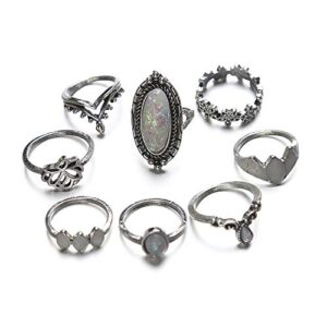 BERYUAN Women 8 Pcs Gem ring Set Bohemian Knuckle Flower Black Vintage Ring Set Vintage Silver Crystal Joint Knuckle Ring Set for Women and Girls (1)