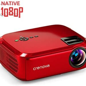 crenova Projector Native 1080p LED Video Projector, 6000 Lux HDMI Projector with 200″ Image Display Compatible with TV Stick, HDMI, VGA, USB, Laptop, Phone for Home Theater