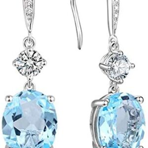 4.95Ct Oval Natural Birthstone Hook Dangle Earrings Hypoallergenic Silver for Women 0.9″