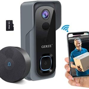 Video Doorbell Camera Wireless WiFi Smart Doorbell,32GB Preinstalled,GEREE 1080P HD Security Home Camera,Real-Time Video and Two-Way Talk,Night Vision,PIR Motion Detection 166° Wide Angle Lens
