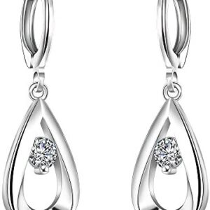 AMBESTEE Women Earrings Hoops, Sterling Sliver Plated Fashion Design Inlay Zirconia Rhinestones Bicyclic Shape Hoop Earrings for Girls Ladies