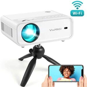 VIVIMAGE Explore 2 Mini WiFi Projector, 4200 Lux 1080P Supported Projector, 40,000 Hours Lamp Life with Synchronize Smartphone Screen, Compatible with TV Stick, HDMI, TV Box, PS4, Include Tripod