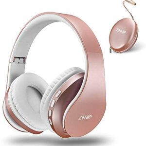Bluetooth Over-Ear Headphones, Zihnic Foldable Wireless and Wired Stereo Headset Micro SD/TF, FM for Cell Phone,PC,Soft Earmuffs &Light Weight for Prolonged Waring (Rose Gold)