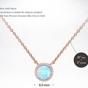 PAVOI 14K Gold Plated Round Created Opal Necklace | Opal Necklaces for Women