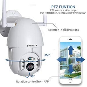 INQMEGA Outdoor PTZ Security Camera, 1080P Pan Tilt Surveillance WiFi Camera with Two Way Audio Night Vision Motion Detection CCTV Camera Max 128G SD