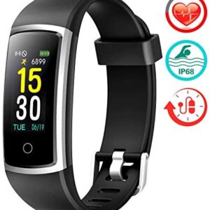FITFORT Fitness Tracker with Blood Pressure HR Monitor – 2019 Upgraded Activity Tracker Watch with Heart Rate Color Monitor IP68 Pedometer Calorie Counter and 14 Sports Tracking for Women Kids Men